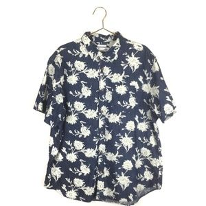 Old Navy XXL 2XL Shirt Blue Floral The Classic